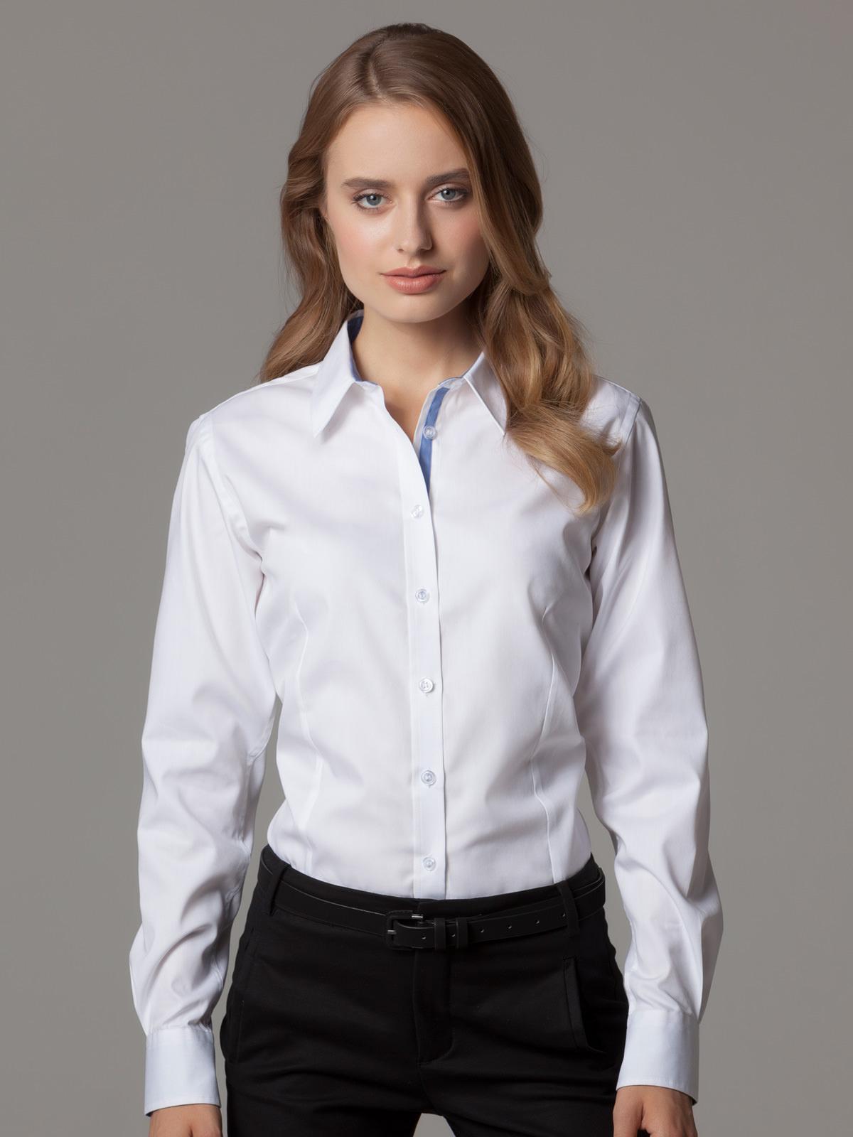 Kk790 Women S Contrast Premium Oxford Shirt Long Sleeve